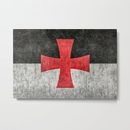 Knights Templar Flag in Super Grunge Metal Print