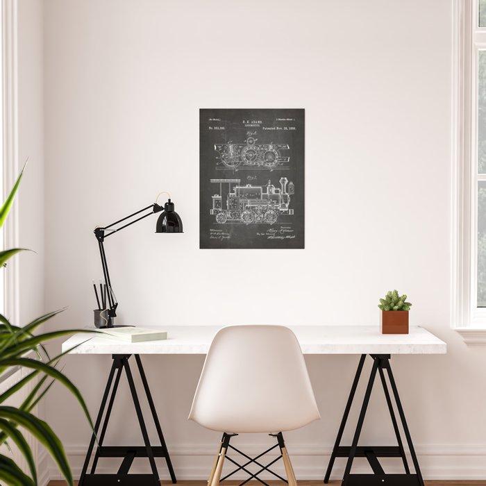 Steam Train Patent - Steam Locomotive Art - Black Chalkboard Poster