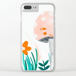 pink mushroom with floral elements Clear iPhone Case
