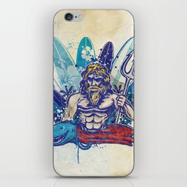 poseidon surfer on surfboard background iPhone Skin