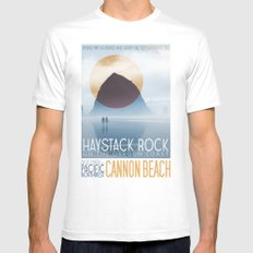 Haystack Rock of Cannon Beach, Oregon Mens Fitted Tee MEDIUM White