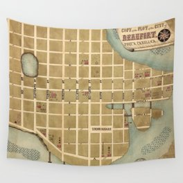 Vintage Map of Beaufort SC (1860s) Wall Tapestry