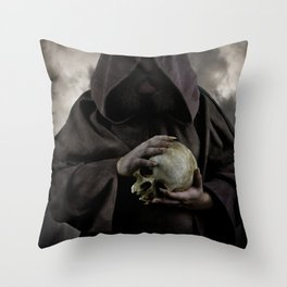 Holding a male skull Throw Pillow