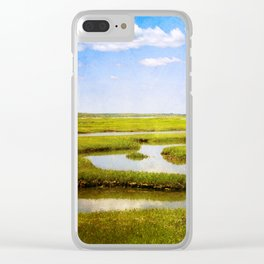 View in Green and Blue from Bass Hole Boardwalk at Grays Beach Yarmouth Port MA Cape Cod Summer Clear iPhone Case