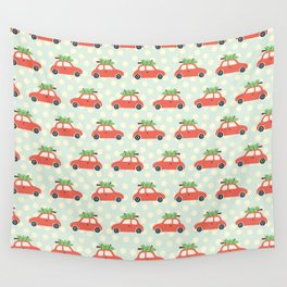 Vintage Christmas trees on car roof blue Wall Tapestry