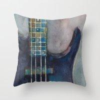 bass Throw Pillows featuring Ed's Bass by Dorrie Rifkin Watercolors