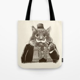 Mustache Cat Tote Bag