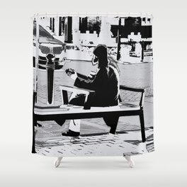 Busking - Guitar Player Shower Curtain