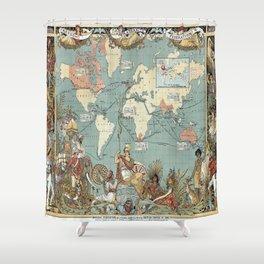 Vintage British Empire World Map (1886) Shower Curtain