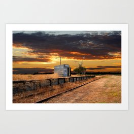 Sunset at the Coonawarra Rail Station Art Print