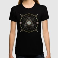 Evil Eye Mandala – Black MEDIUM Black Womens Fitted Tee