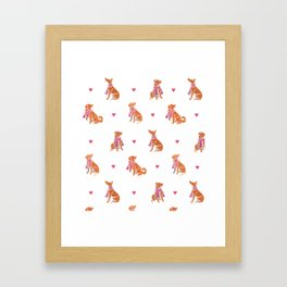Watercolour dogs - orange theme Framed Art Print