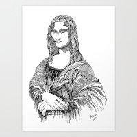 mona lisa Art Prints featuring Mona Lisa by April Gann