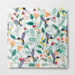 Hummingbirds and Summer Flowers Metal Print