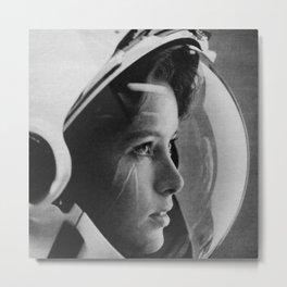 NASA Astronaut, Anna Fisher, black and white photograph Metal Print