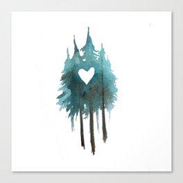 Forest Love - heart cutout watercolor artwork Canvas Print