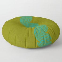 groovy minimalist pattern aqua waves on olive Floor Pillow