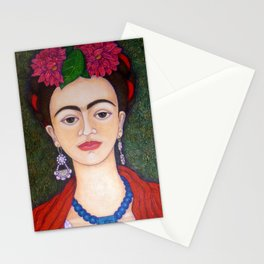 Frida portrait with dalias Stationery Cards