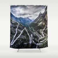 norway Shower Curtains featuring Trollstigen, Norway. by Ar Ling Landscape photography