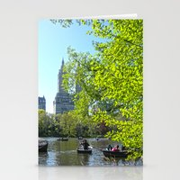 rowing Stationery Cards featuring Rowing at Central Park, NYC by Martha Washington
