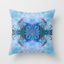 Four fairies at a meeting - blue Throw Pillow