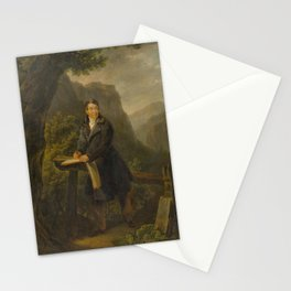 ATTRIBUTED TO FREUDWEILER, HEINRICH (1755 Zurich 1795) Portrait of a draughtsman in a mountain lands Stationery Cards