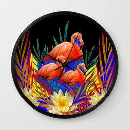 ABSTRACT BLACK-PURPLE FLORIDA FLAMINGO WATER LILIES Wall Clock