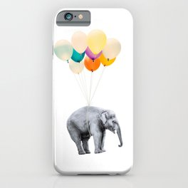 Dreaming Elephant Flying, Animal Zoo Nursery Photo, Large Printable Birthday Party Balloons Wall Art iPhone Case