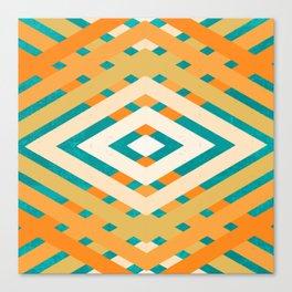 Retro Orange and Turquoise Geometric Pattern Canvas Print