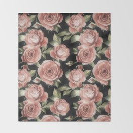 Classic Pink Roses On Black Throw Blanket