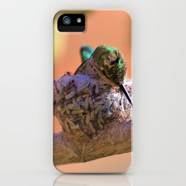 Hummingbird Baby in the Nest iPhone Case