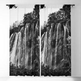 veliki prštavac waterfall plitvice lakes national park croatia bw Blackout Curtain