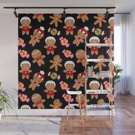 Cute decorative hygge pattern. Happy gingerbread men and sweet xmas caramel chocolate candy. Xmas Wall Mural