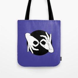 Sign Language (ASL) Interpreter – White on Black 02 Tote Bag