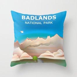 Badlands National Park, South Dakota - Skyline Illustration by Loose Petals Throw Pillow
