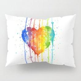 Rainbow Heart Watercolor Pillow Sham
