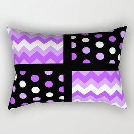 Black/Two-Tone Ultraviolet/White Chevron/Polka-dot Rectangular Pillow