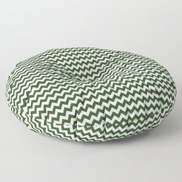 Small Dark Forest Green and White Chevron Stripes Floor Pillow