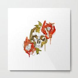 Geometric Skull & Roses Metal Print