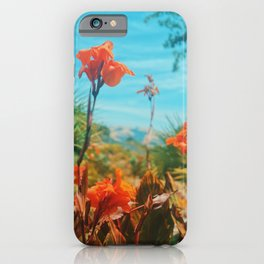 Vibrant Flowers with a Tropical Mountain Scenery iPhone Case