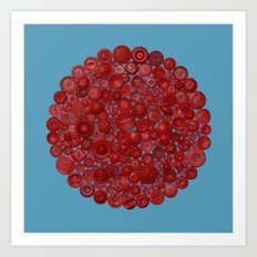 Red on Blue Art Print
