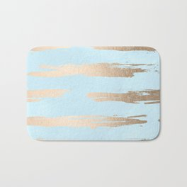 Abstract Paint Stripes Gold Tropical Ocean Sea Turquoise Bath Mat