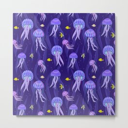 Sea jellyfish on dark purple background. Metal Print