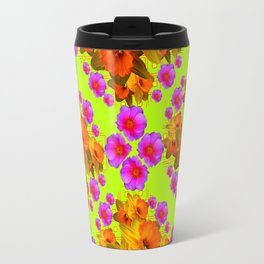 Chartreuse Color Golden Daffodil Rose Art Travel Mug