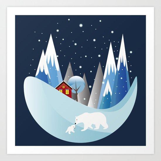 Snowing Bubble Art Print