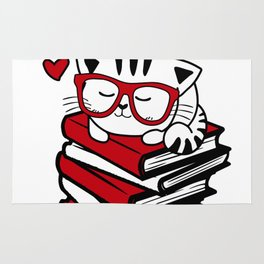 Reading Gift Funny Cat Book Reader Geek Glasses Bookworm Rug