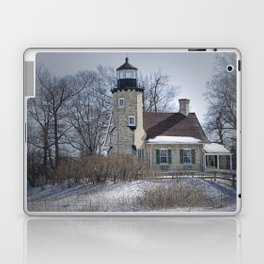 Lighthouse during Winter in Whitehall Michigan Laptop & iPad Skin