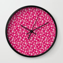 Festive Peacock Pink and White Christmas Holiday Snowflakes Wall Clock