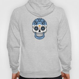 Sugar Skull with Roses and Flag of Argentina Hoody