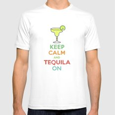 Keep Calm Tequila - black White MEDIUM Mens Fitted Tee